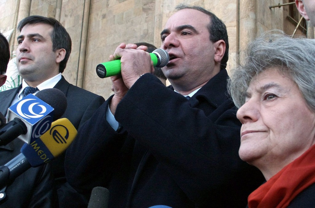 The oppositional leaders Mikhail Saakashvili (L), Zurab Zhvania (C) and Elene Tevdoradze (R) address to people during the oppositional demonstration in the center of Georgian capital Tbilisi, Friday 14 November 2003. Georgian President Eduard Shevardnadze has warned against a civil confrontation in the country, which 'could grow into civil war'.  EPA/EYE OF GEORGIA